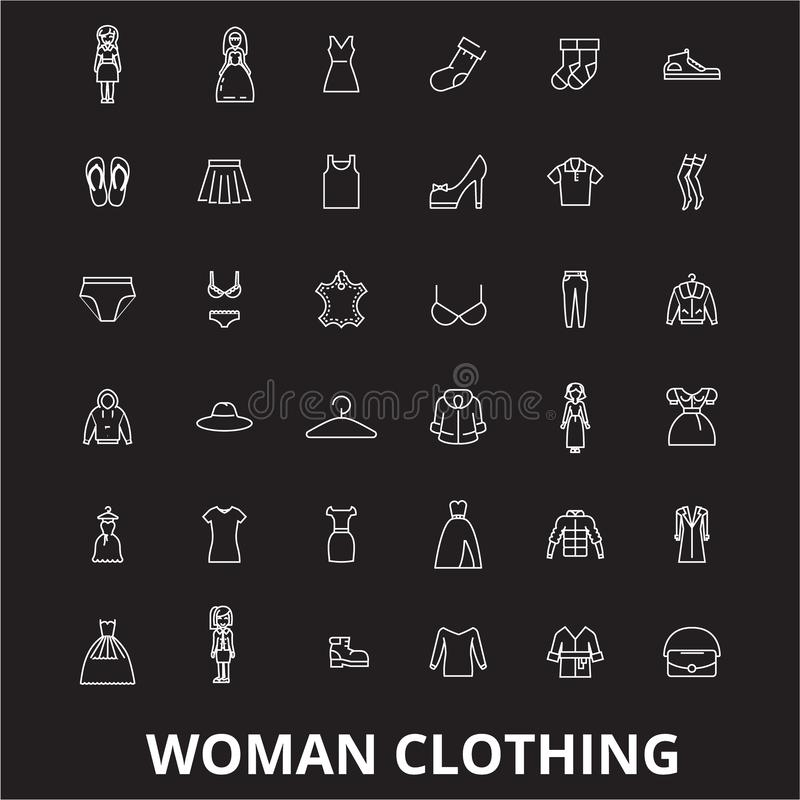 Kobieta odziewa editable kreskowy ikony wektorowego ustawiającego na czarnym tle Kobieta odziewa białe kontur ilustracje, znaki royalty ilustracja