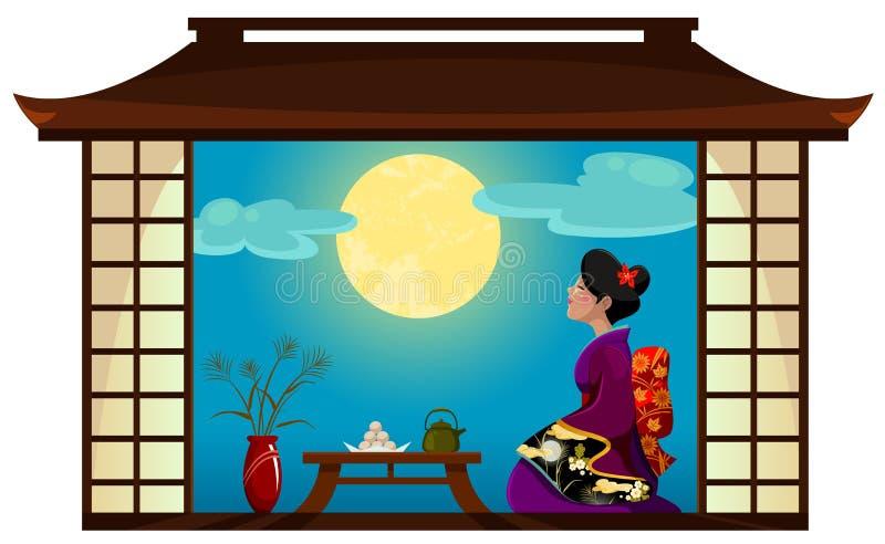 kobieta ogląda księżyc ilustracji