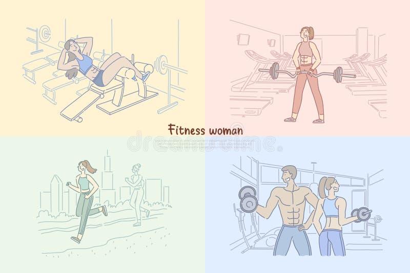 Kobieta opracowywa w sprawność fizyczna klubie, bodybuilder szkolenie w gym, silnego mężczyzny udźwigu ciężary, dziewczyna joggin ilustracji