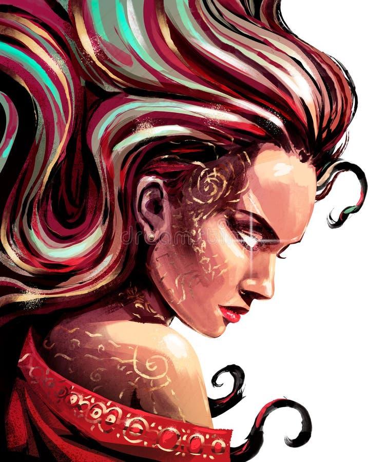 Kobieta Oracle z iskrami w oczach ilustracja wektor