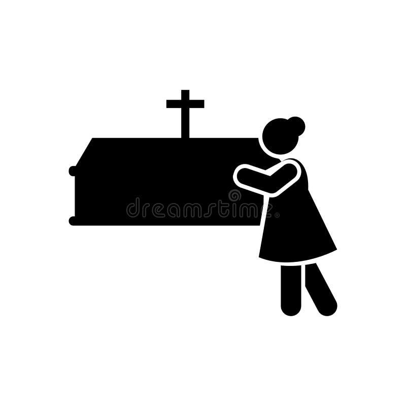 Kobieta płacze trumienną stroskanie ikonę Element piktogram śmierci ilustracja ilustracja wektor