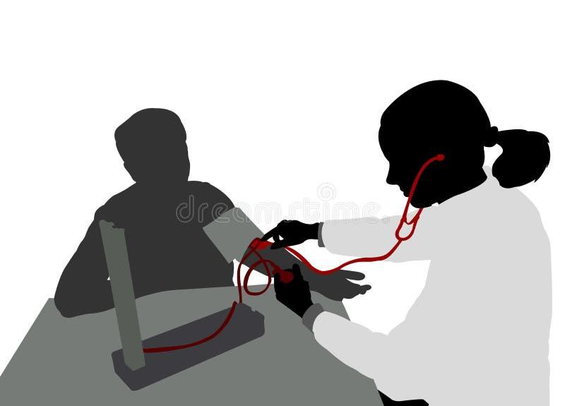 Kobieta pacjentów ciśnienia krwi doktorska pomiarowa sylwetka ilustracja wektor