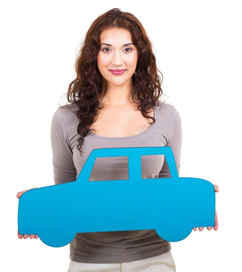 Kobieta papierowy samochód fotografia stock