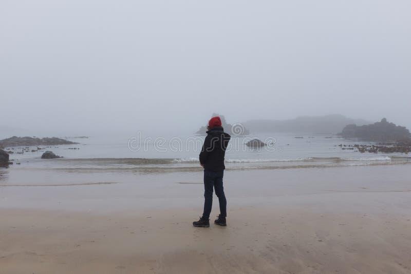 Kobieta patrzeje ocean z powrotem kamera, zimny dzień zdjęcie royalty free