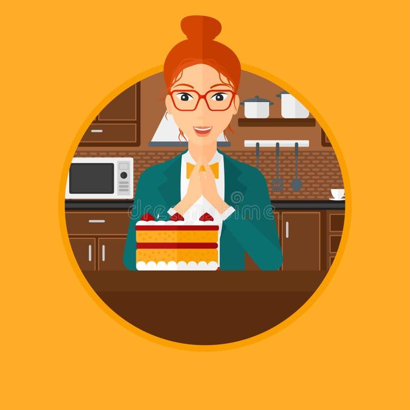 Kobieta patrzeje tort z kuszeniem royalty ilustracja