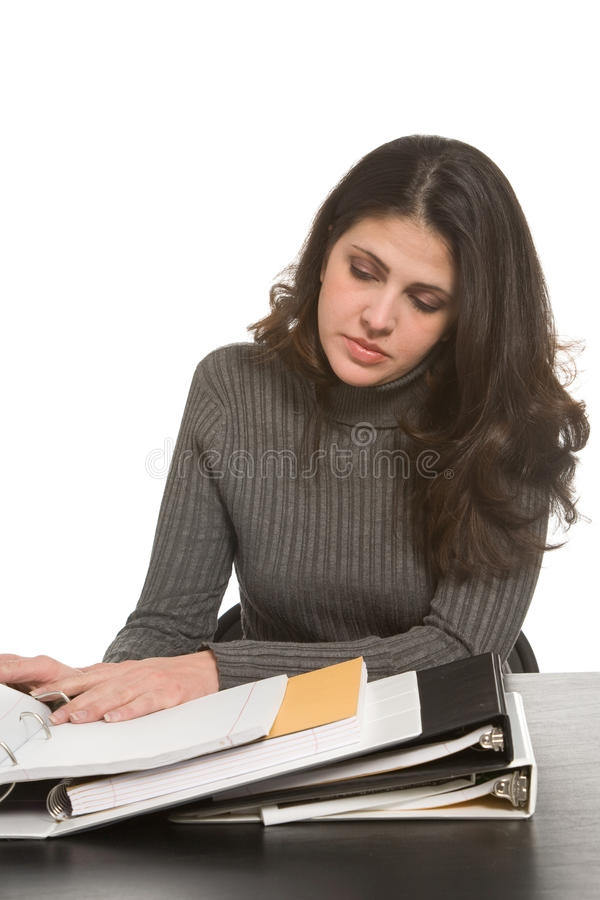 Kobieta z notatnikami fotografia stock