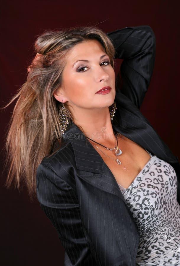 Kobieta piękny długie włosy portret, zdjęcie stock