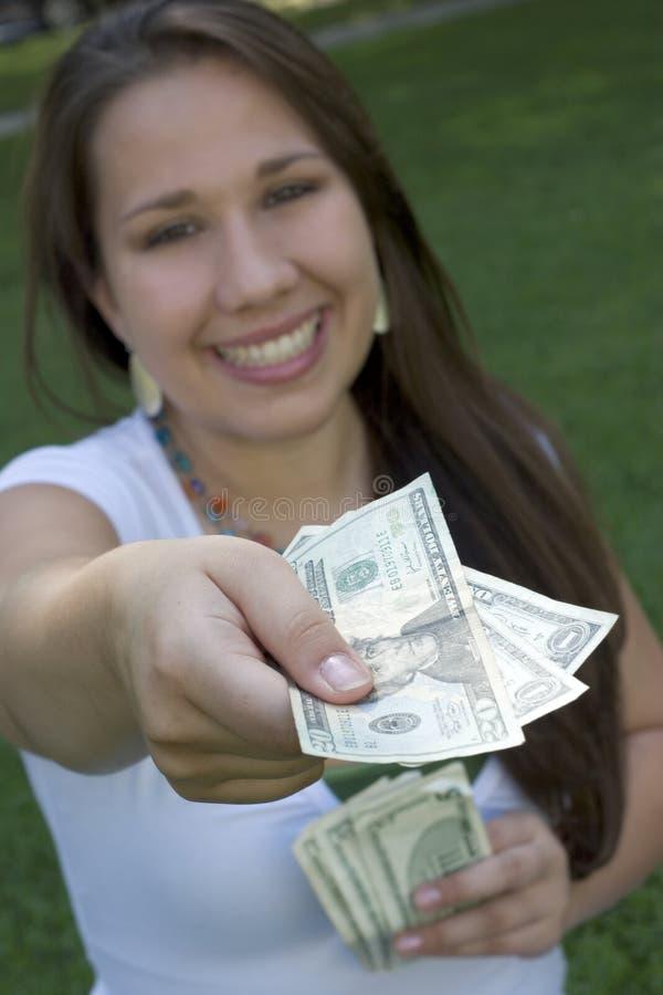 kobieta pieniądze zdjęcia royalty free