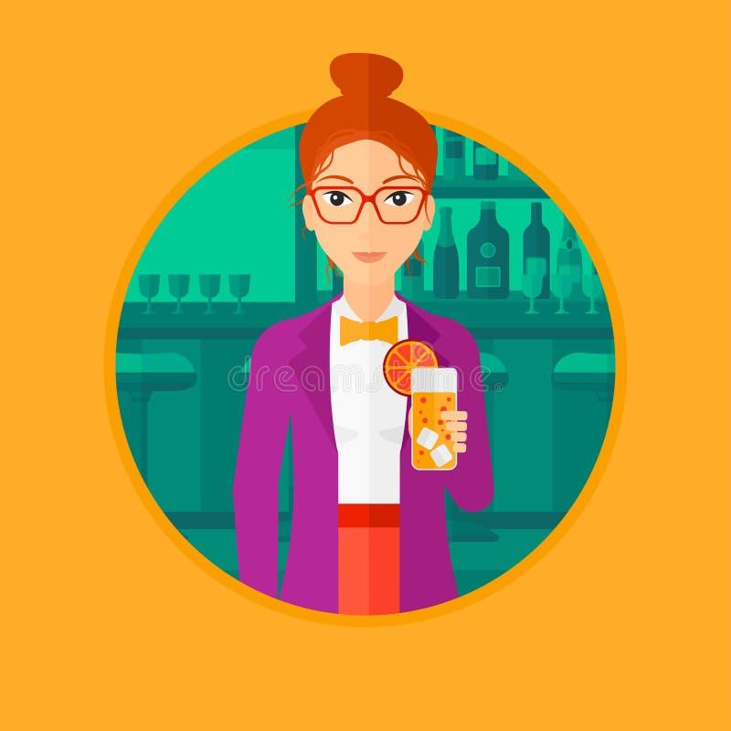 Kobieta pije pomarańczowego koktajl przy barem ilustracja wektor