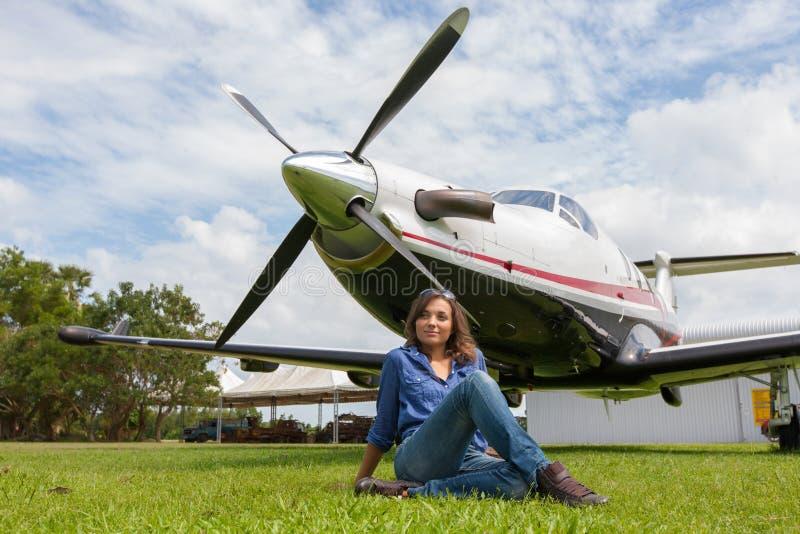 Kobieta pilot zdjęcie royalty free