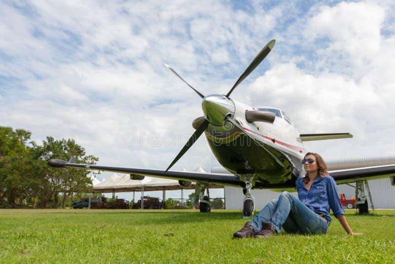 Kobieta pilot zdjęcia royalty free