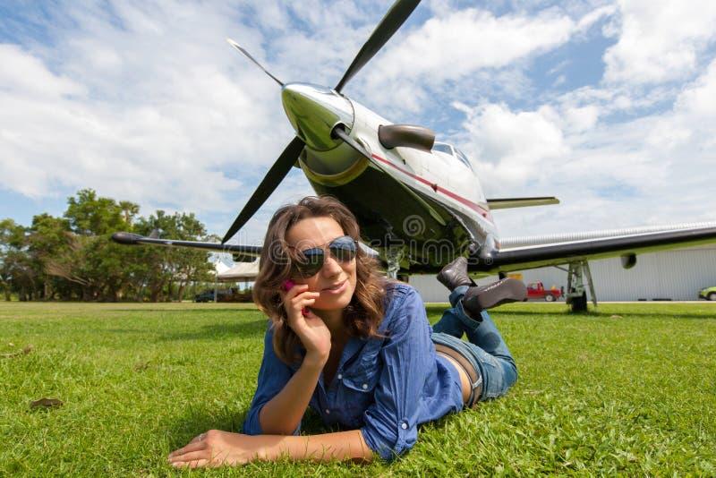 Kobieta pilot obraz royalty free