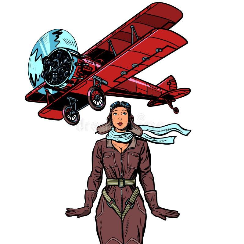 Kobieta pilot rocznika biplanu samolot Odizolowywa na bia?ym tle ilustracja wektor
