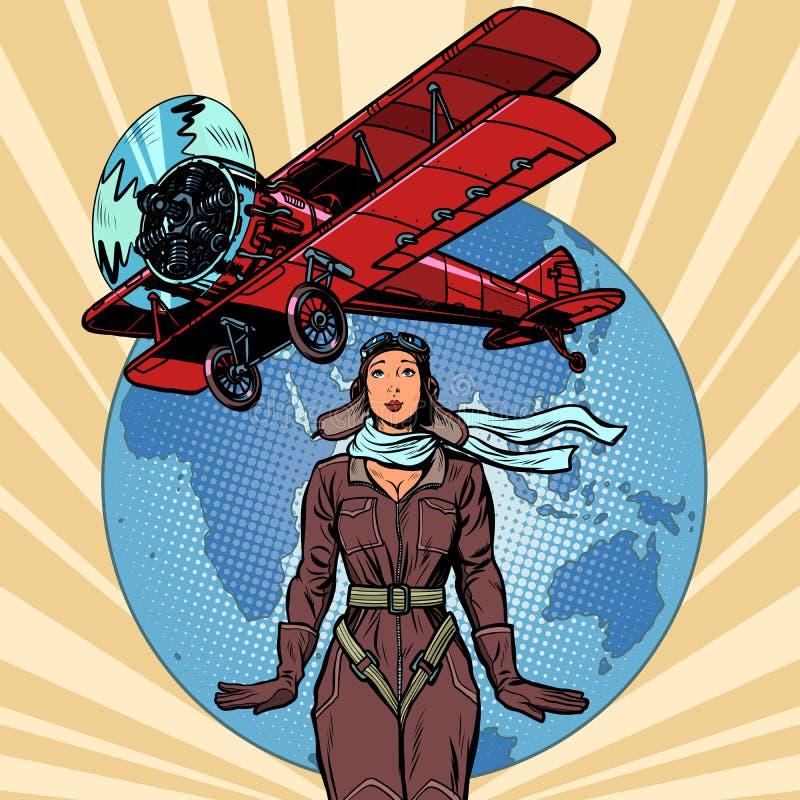 Kobieta pilot rocznika biplanu samolot royalty ilustracja