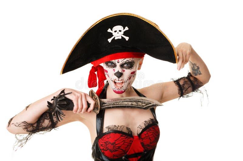 Kobieta pirat z kordzikiem kostiumowy Halloween zdjęcia royalty free