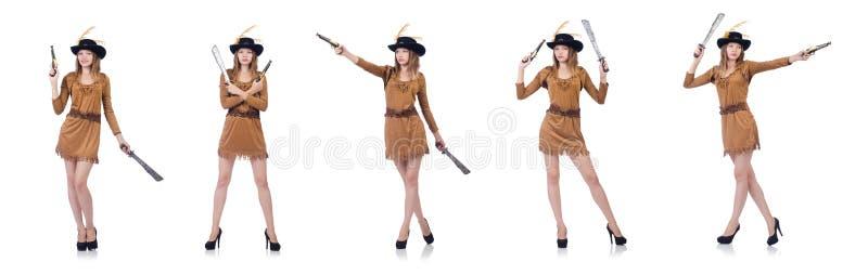 Kobieta pirat z nożem odizolowywającym na bielu zdjęcia royalty free