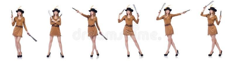 Kobieta pirat z nożem odizolowywającym na bielu obrazy royalty free