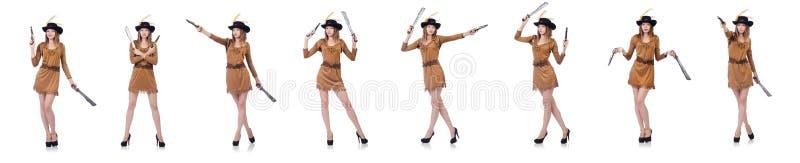 Kobieta pirat z nożem odizolowywającym na bielu fotografia royalty free