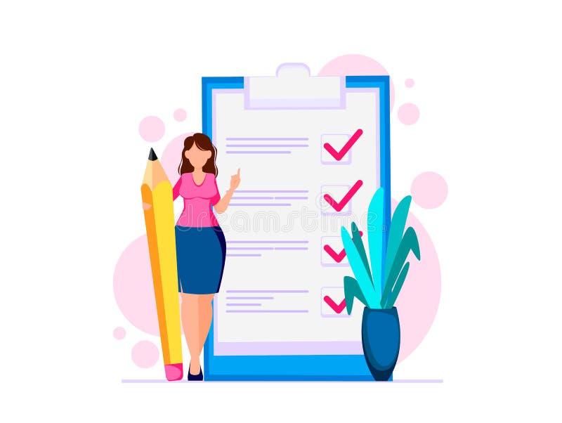 Kobieta planistyczny miesiąc, robić liście royalty ilustracja