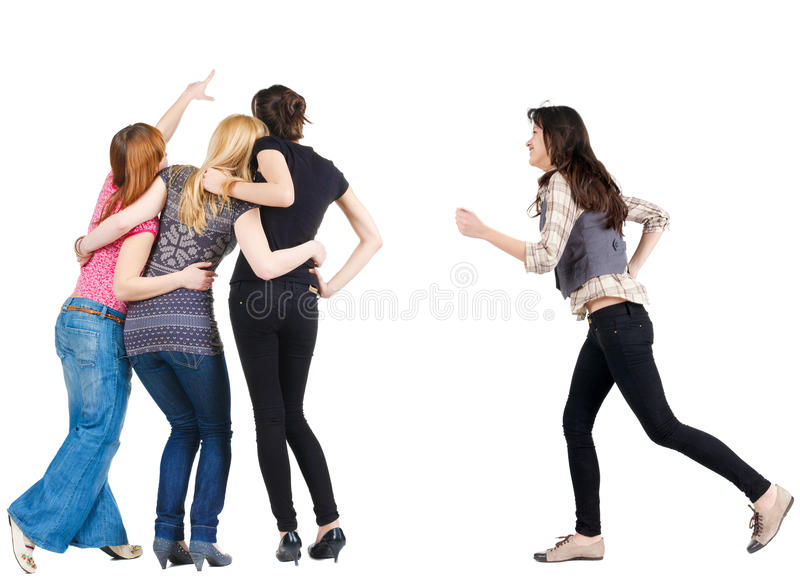 Kobieta pośpiesza target639_0_ przyjaciół obrazy stock