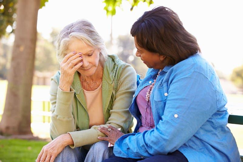 Kobieta Pociesza Nieszczęśliwego Starszego przyjaciela Outdoors fotografia royalty free