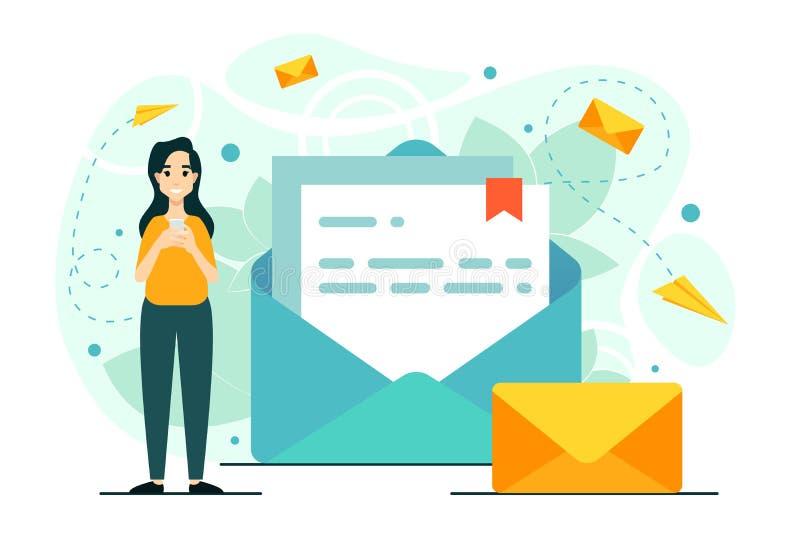 Kobieta, poczta, telefon, gadka Obieg, nowa e-mailowy wiadomość, powiadomienie w poczcie ilustracji