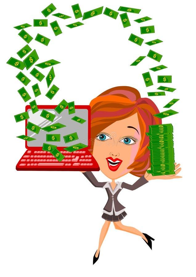 Kobieta pod pieniądze deszczem royalty ilustracja