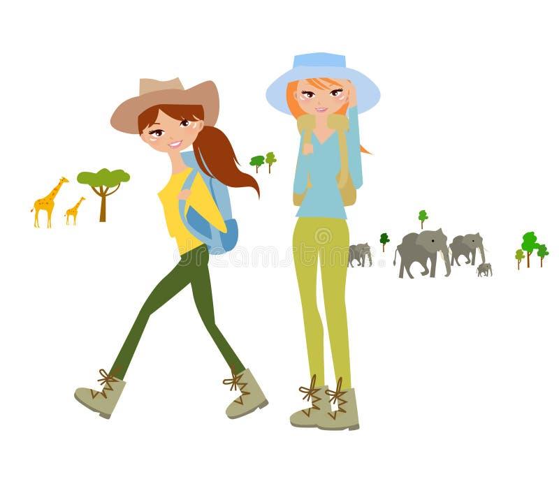 Kobieta podróżnik na Afrykańskim safari royalty ilustracja