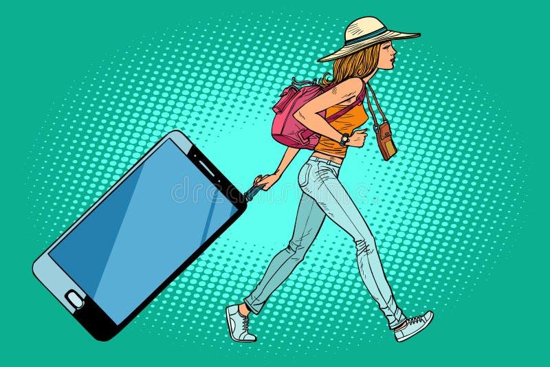 Kobieta podróżnik z smartphone Gadżet zamiast bagażu royalty ilustracja