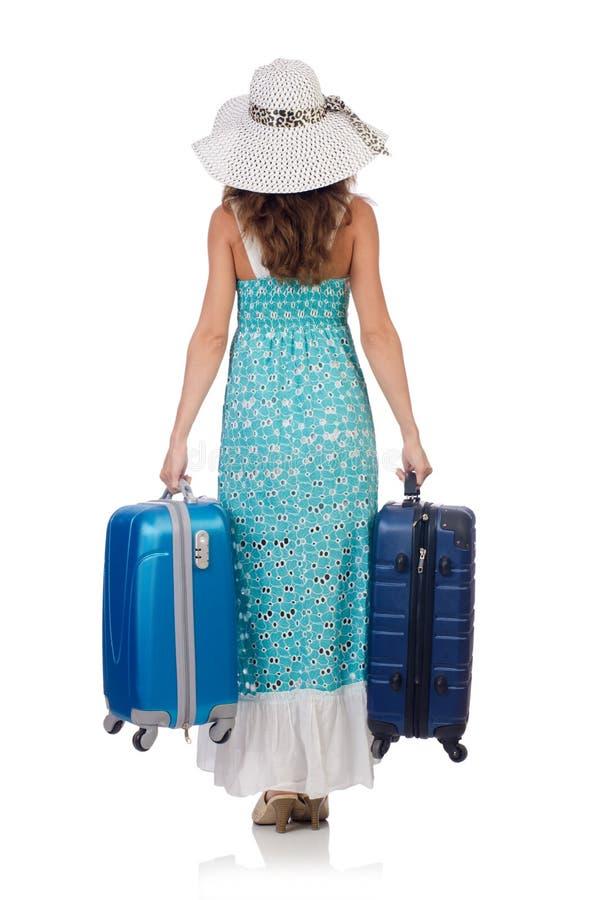 Kobieta podróżnik z walizką odizolowywającą fotografia stock