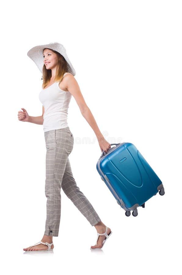 Kobieta podróżnik z walizką odizolowywającą fotografia royalty free