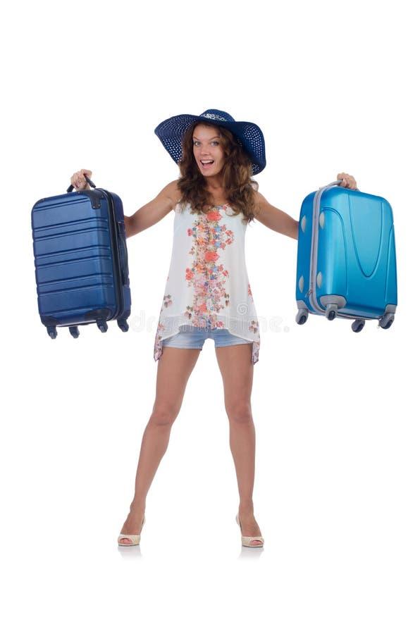 Kobieta podróżnik z walizką odizolowywającą zdjęcia royalty free