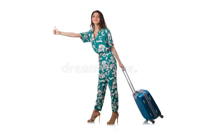 Kobieta podróżnik z walizką odizolowywającą obraz stock