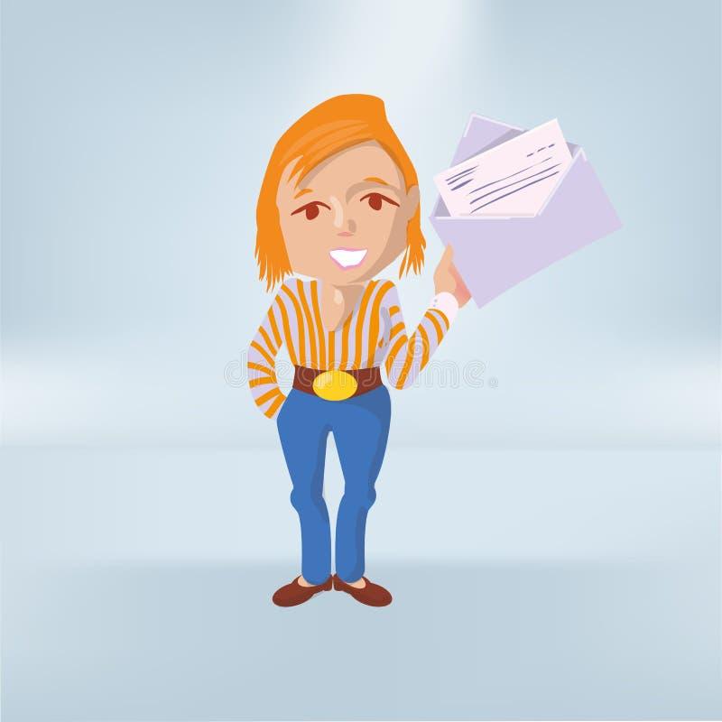 Kobieta pokazuje list w kopercie ilustracji