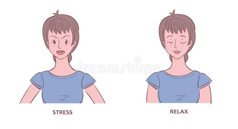 Kobieta pokazywać w stresie i relaksujących stanach ilustracja wektor
