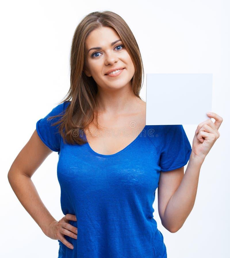 Kobieta pokazywać pustego signboard zdjęcie royalty free