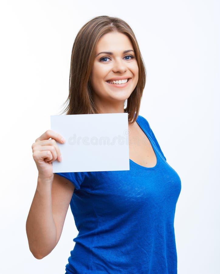 Kobieta pokazywać pustego signboard obraz royalty free