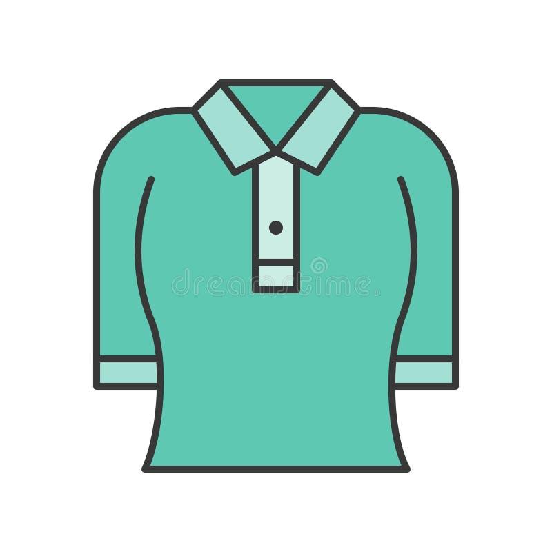 Kobieta polo koszula, wypełniający koloru konturu editable uderzenie ilustracja wektor