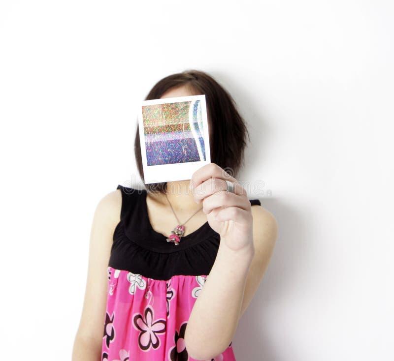 kobieta poloroid zdjęcia stock