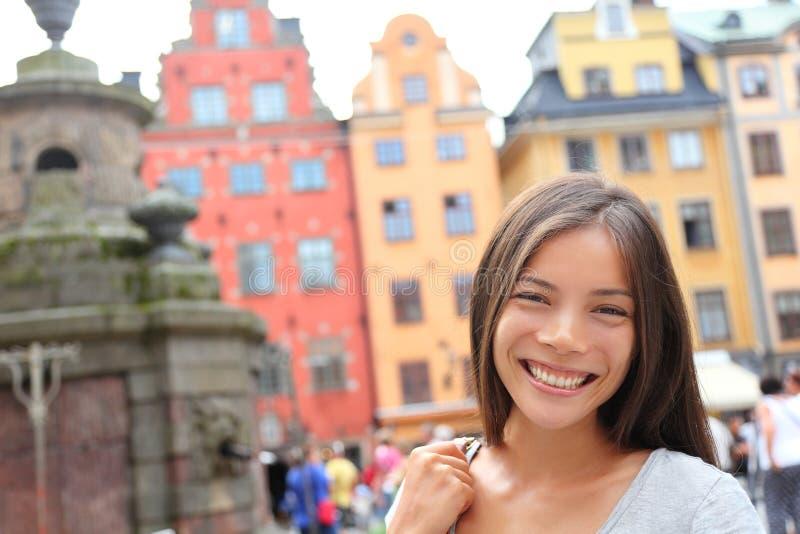 Kobieta portret w Europa, Stortorget, Sztokholm obrazy stock