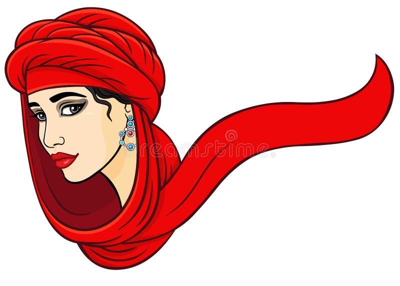 Kobieta portret w turbanie ilustracja wektor
