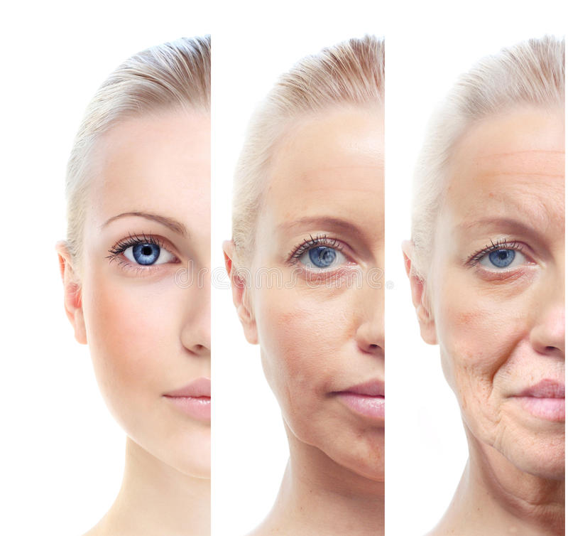 Kobieta portreta 20,40,60 lat. zdjęcie stock