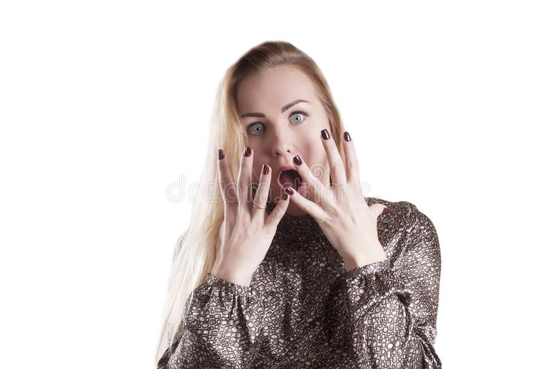 Kobieta portreta niespodzianki horroru zdziwienie, odosobniony ogłuszony wyrażenie fotografia royalty free