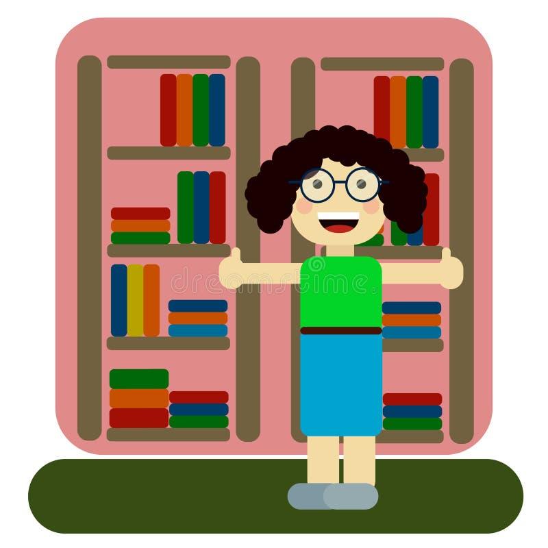 Kobieta pracownik biblioteka lub bookstore jabłko rezerwuje pojęcia edukaci czerwień ilustracja wektor