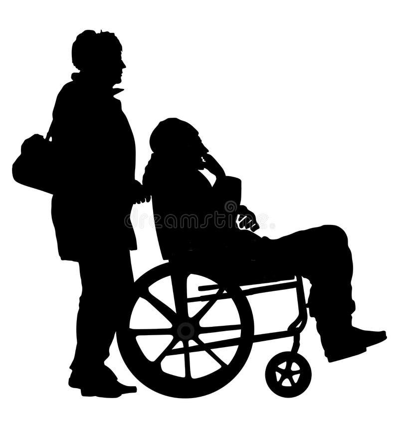 Kobieta pracownik opieki społecznej spaceruje z starszą osobą obezwładniał cierpliwego mężczyzna w wózku inwalidzkim ilustracji