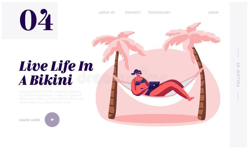 Kobieta Pracuje na laptopu lying on the beach w hamaku ilustracja wektor
