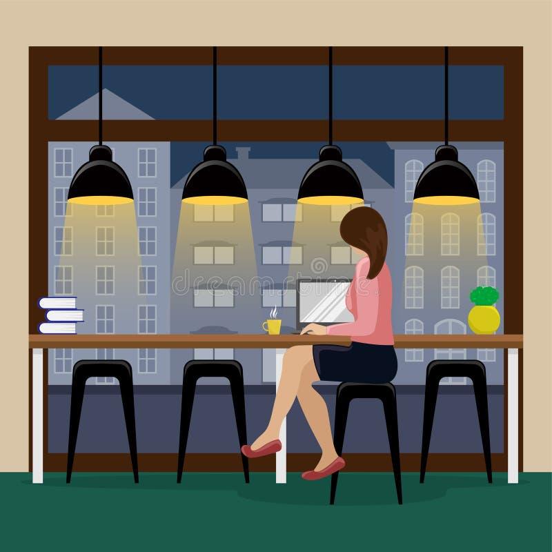 Kobieta pracuje przy komputerem przy prętowym kontuarem blisko panoramicznego okno w kawowym domu 1 lotu ptaka s ilustracji