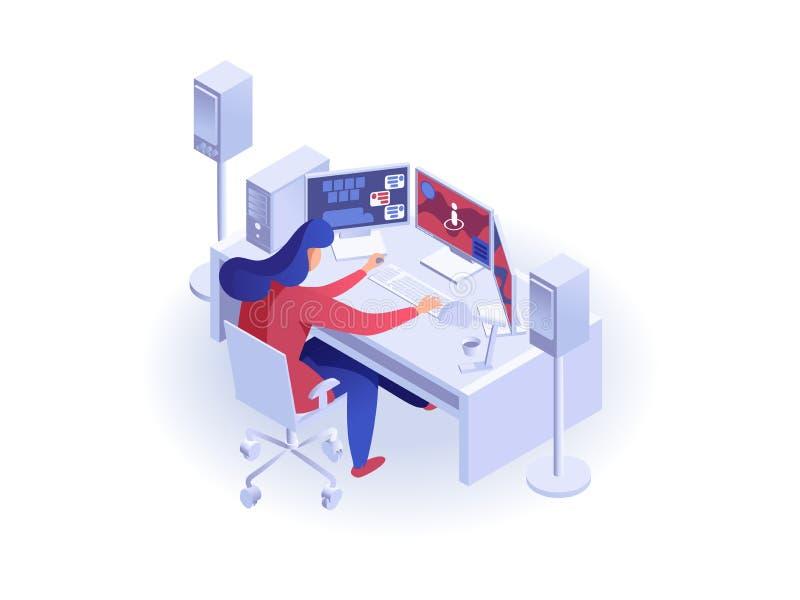 Kobieta pracuje przy komputerem ilustracja wektor