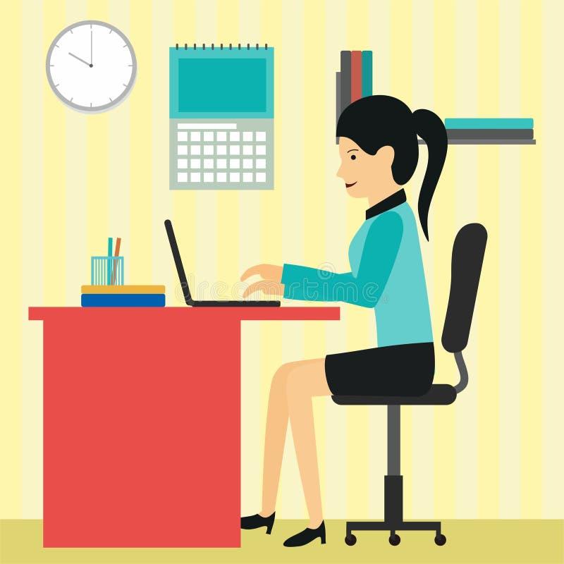 Kobieta pracuje w biurowej wektorowej ilustracji z płaskim projektem royalty ilustracja