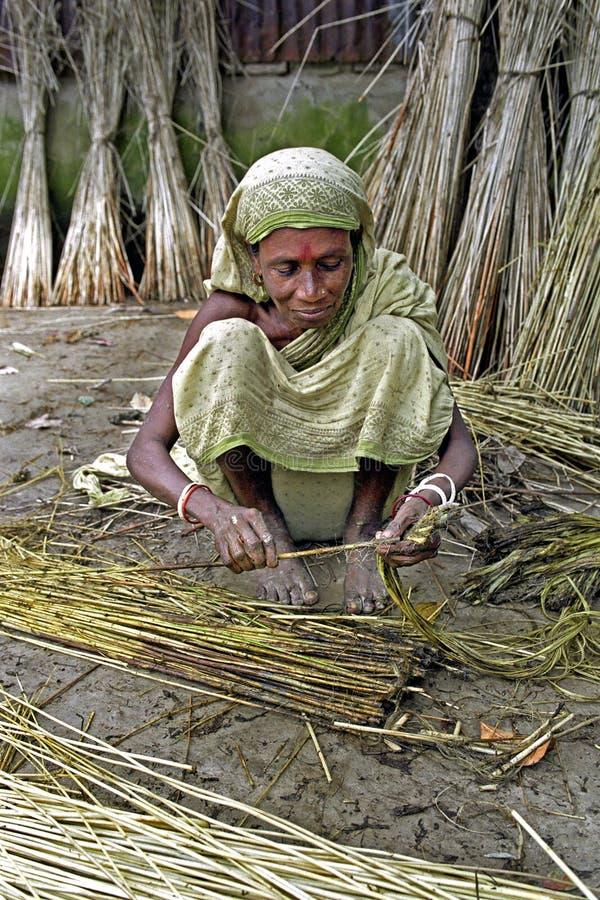 Kobieta pracuje w jutowym przemysle, Tangail, Bangladesz obraz royalty free